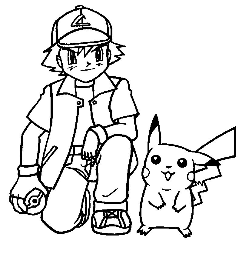 Kleurplaat Pokemon Met Pikachu En Ash Kleurplaatje Nl