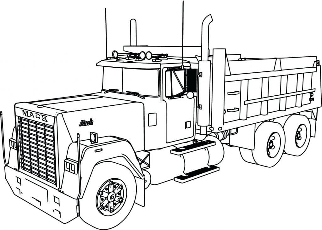 kleurplaat dumptruck vrachtwagen