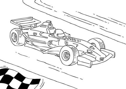 kleurplaat formule 1 race auto