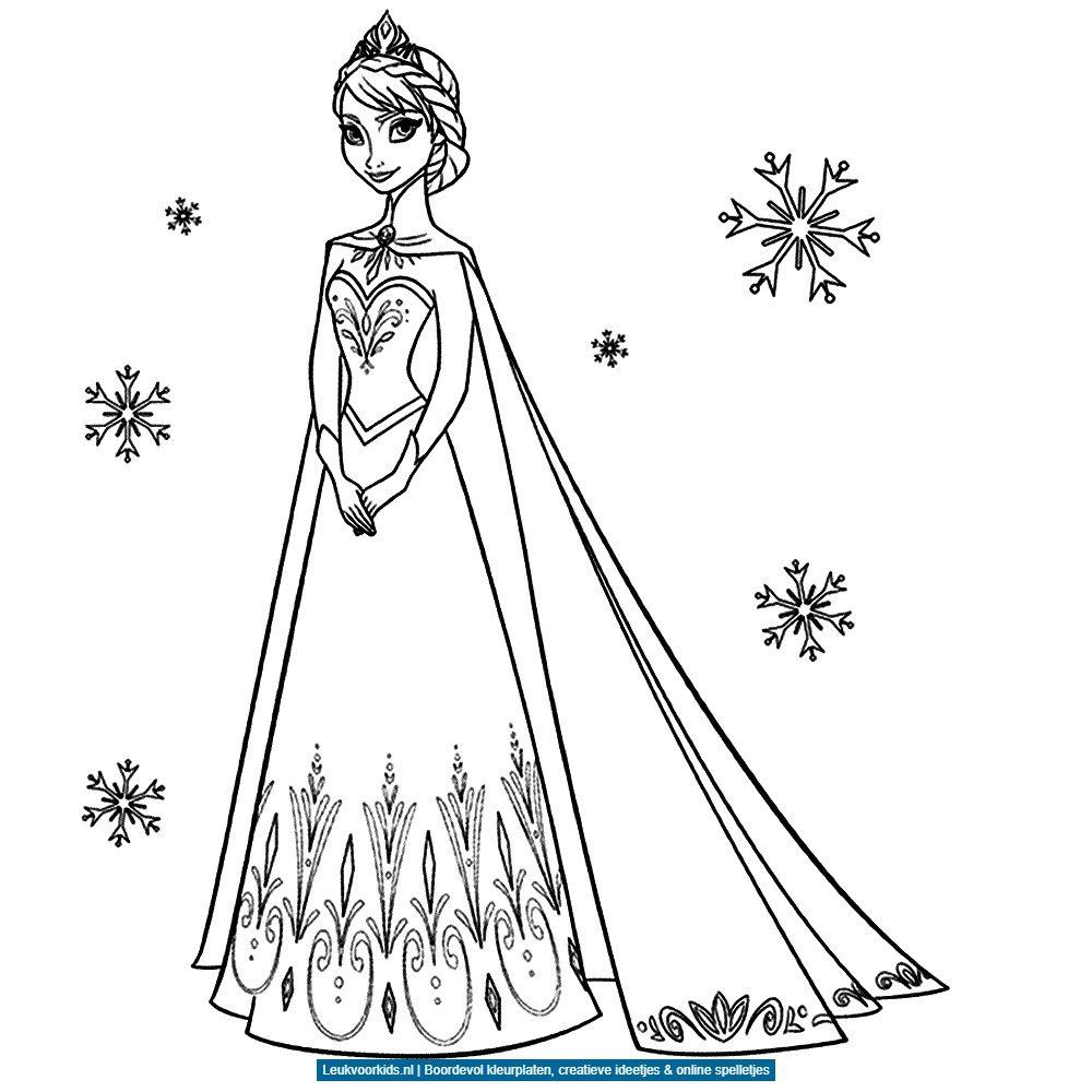 Elsa In De Sneeuw Kleurplaat Kleurplaatje Nl