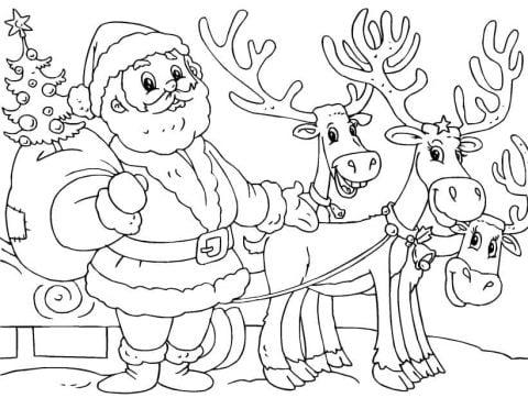 kerstman rendier slee kleurplaat