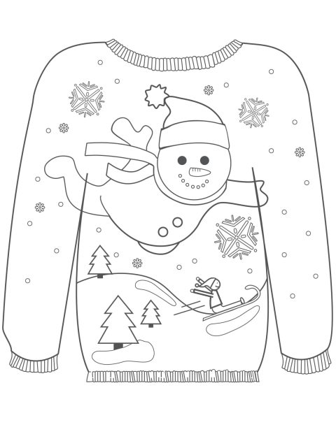 kerst trui kleurplaat