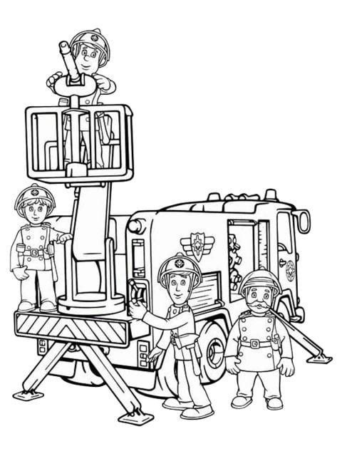 kleurplaat brandweerauto van brandweerman sam