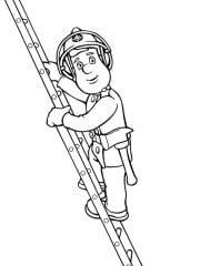 kleurplaat brandweerman sam op ladder