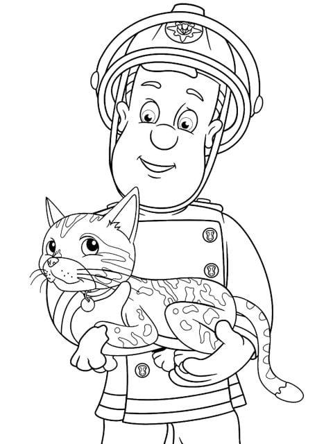 kleurplaat brandweerman sam red een kat