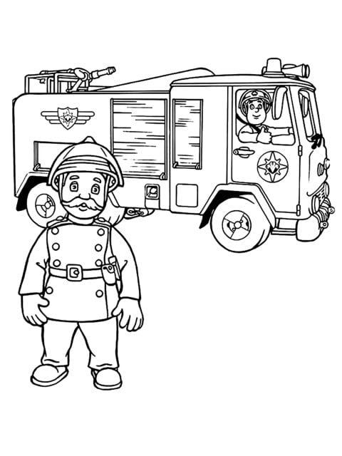 kleurplaat sam de brandweerman