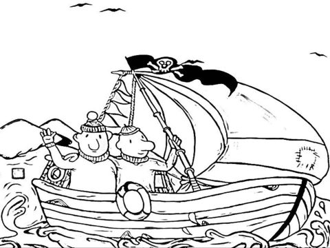 kleurplaat buurman en buurman in boot