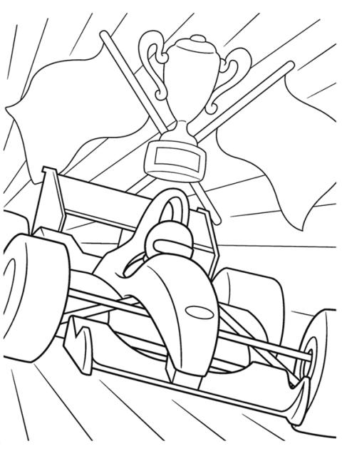 kleurplaat formule 1 winnaar