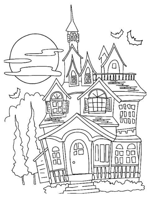 kleurplaat halloween spookhuis