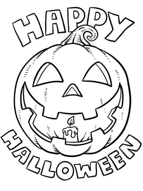 kleurplaat happy halloween
