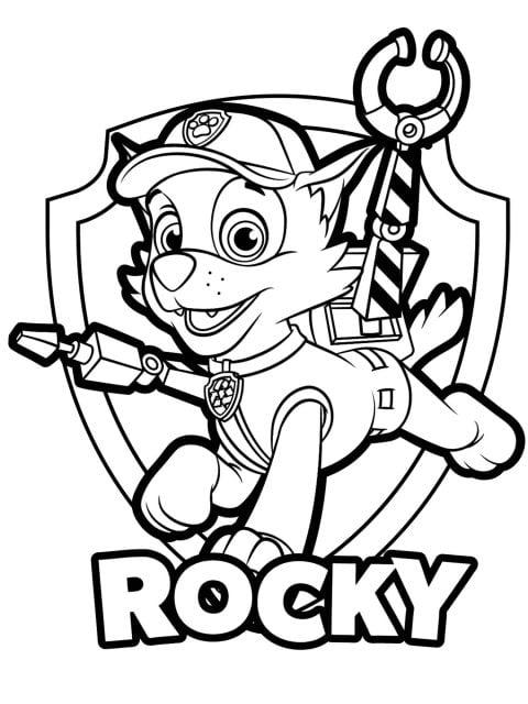 kleurplaat paw patrol rocky