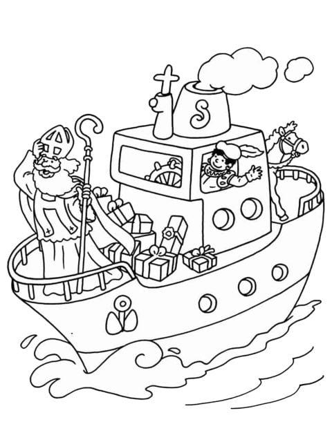 kleurplaat pakjesboot van sinterklaas