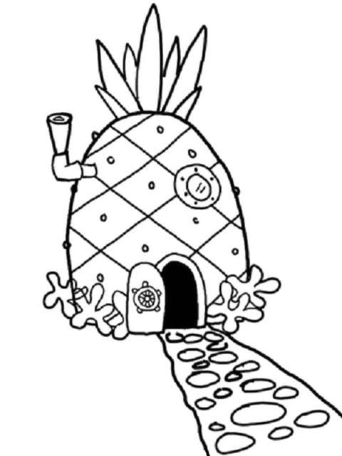 kleurplaat ananas huis spongebob