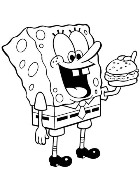 kleurplaat spongebob eet hamburger