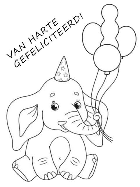kleurplaat verjaardag ballonnen
