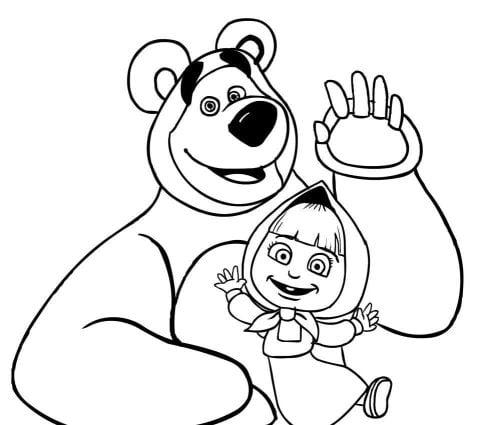 masha en de beer kleurplaat
