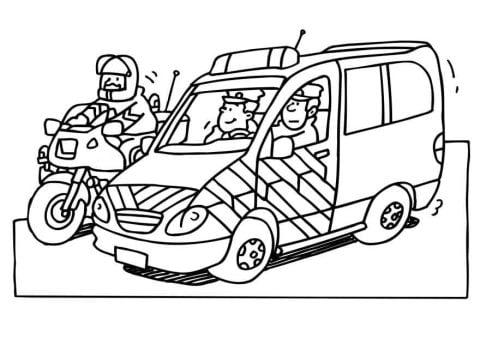 kleurplaat politie auto en motor